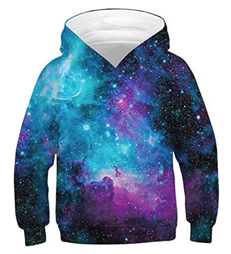 Idgreatim Kinder Pullover Hoodie 3D Galaxy Universum Lustige Sweatshirts Lässige Kinder Pullover Kapuzenpullover XL