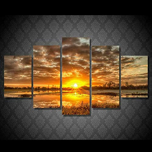 MMSY 5 Panel Wall Art Pictures Sunrise Sunset On Water Print On Canvas The Picture For Home Modern Decoration Piece Stretched By Wooden Frame Ready To Hang(Framed