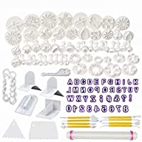 RICISUNG カタリナケーキツール フラワーフォンダンケーキ金型 アイシングプランジャカッターツール 14セット(118個)