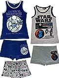 Star Wars - Jungen Unterwäsche-Set bestehend aus 2X Unterhemden + 3X Boxershorts - Vorteils Package - Öko Tex - Top Qualität, Farbe:Blau. Weiß & Grau, Größe:122/128