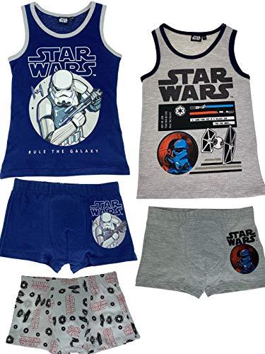 Star Wars - Jungen Unterwäsche-Set bestehend aus 2X Unterhemden + 3X Boxershorts - Vorteils Package - Öko Tex - Top Qualität, Größe:134/140, Farbe:Blau. Weiß & Grau