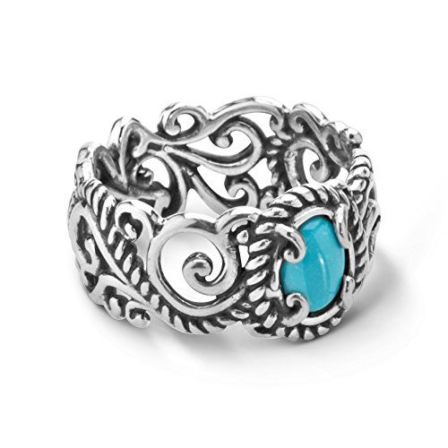 Carolyn Pollack Sterling Silver Sleeping Beauty Turquoise Rope and Scroll Band Ring Sizes 5