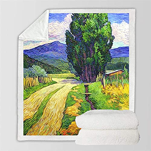 FGRSD Throw Blanket,Soft Warm Sherpa Blanket,Mountain Tree Landscape Digital Printed Quilt,Bedding Couch Blanket,Adults Office Lunch Break Blanket,Winter Sheet Plush Bedspreads 150×200cm