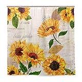 Wamika Duschvorhang mit Sonnenblumen-Motiv, langlebiger Stoff, schimmelresistent, wasserdicht, mit 12 Haken, 183,0 x 183,0 cm