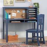 Guidecraft Children's Media Desk and Chair Set Navy: Student's Study, Computer and Writing Workstation with Hutch and Shelves, Wooden Kids Bedroom Furniture