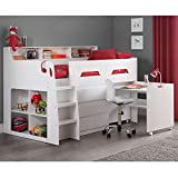 White and Grey Wooden Kids Bed, Happy Beds Jupiter Mid Sleeper with Storage and Desk