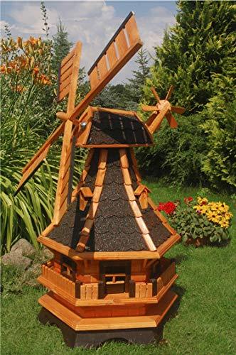 Deko-Shop-Hannusch Windmühle, 1,30 m, Windmühlen mit Beleuchtung Solar, Solarbeleuchtung ++kugelgelagert++ Bitum dunkel