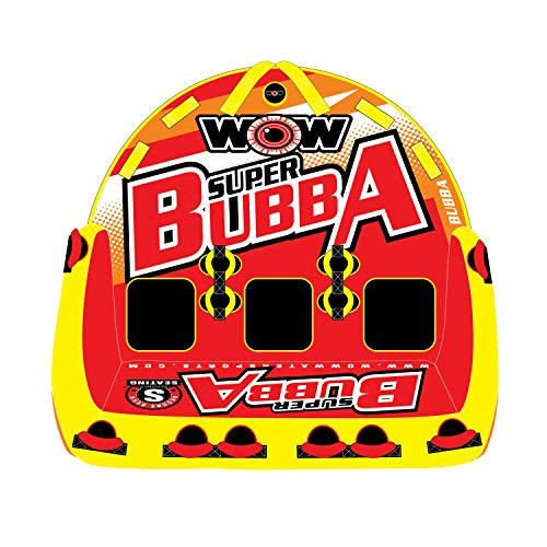 WOW World of Watersports, Big Bubba Hi Visibility Towable Tube Deck Seat, Front and Back Tow Points, 1-3 Riders