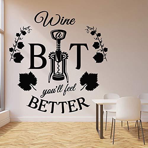 Dongwall Passen Sie das Gute Wort Wandtattoo Weinkorkenzieher Korkenzieher Rattan Zitat Restaurant Bar Innen Vinyl Fenster Aufkleber Wandbild 57x59cm