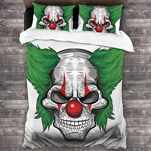 "LUOWAN Duvet Cover Set,Clown Horror Spooky Tattoo Joker Card Blood Evil Illustration Circus Characters Monster Fictional Character Fear,Decorative 3 Piece Bedding Set with 2 Pillow Shams,86""70"""
