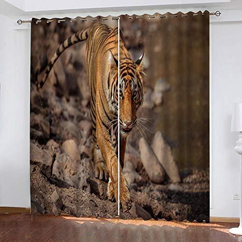 DRFQSK Cortinas Infantiles Impresión Digital Tigre Animal De Roca 3D Cortinas Opacas Termicas Aislantes Cortinas Dormitorio Moderno con Ollaos, 2 Paneles 300 X 270 Cm(An X Al)