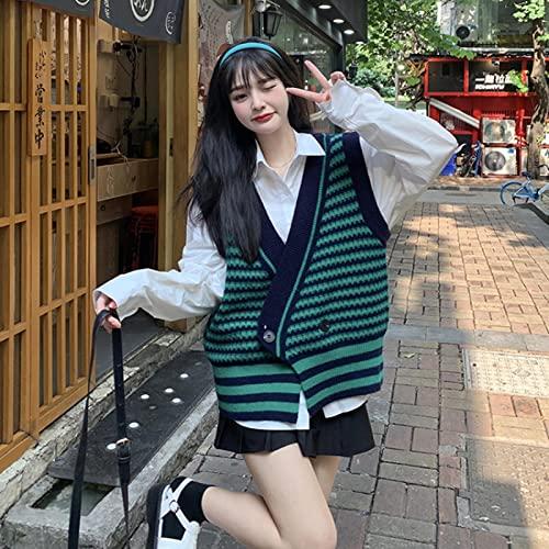 Bywenzai Chaleco cálido Suéter Chaleco Traje Chaleco De Punto A Rayas con Cuello En V para Mujer Diseño De Otoño, Chaleco Suelto Sin Mangas M Whiteshirt