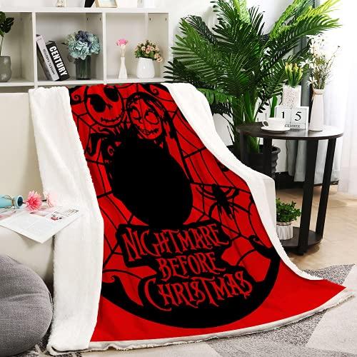 Aatensou The Nightmare Before Christmas - Coperta in flanella morbida e soffice per il letto, per il divano o il divano o la spiaggia, motivo primavera/Living Room (8,100 x 140 cm)