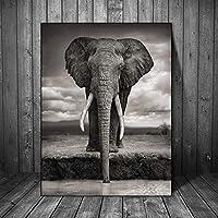 Cuadros Estilo nordico Paisaje Lienzo Pintura Animal Pared Arte Elefante Africano Carteles e Imprimir Cuadros de Pared para la decoración de la Sala decoración del hogar sin Marco 50x70 cm