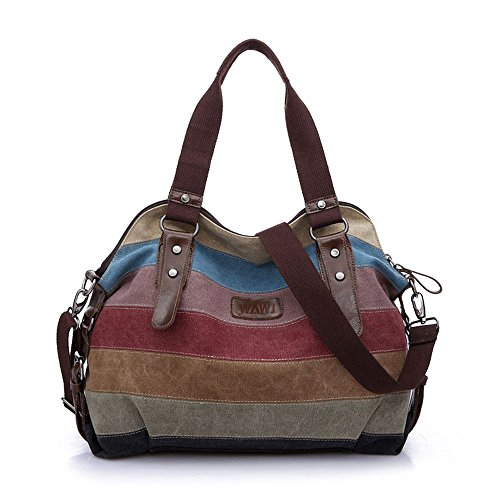 WAWJ Multi-Color-Striped Damen Handtasche / Umhängetasche Canvas Shopper Tasche Vintage Hobo Bags