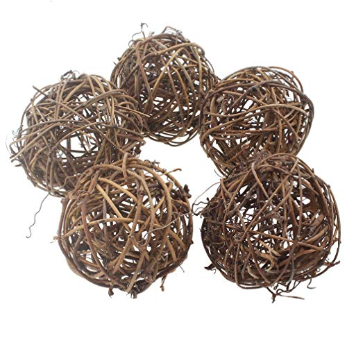 emours Willow Branch Rattan Ball Chew Toys for Small Animals Rabbits Guinea Pigs Chinchillas Pet Rats 5Pcs