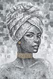 Yelash African American Women Wall Art Modern Canvas Picture Fashion Black Lady Wearing Jewelry Painting Black and White Themed Artwork Poster Ready to Hang (16'x24'x1 Panel)