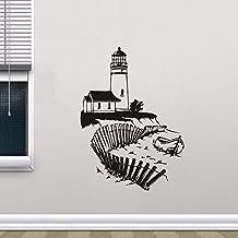 Faro de pared Mural Playa de la playa Vinilo calcomanía náutica Interior decoración del hogar baño extraíble marina etiqueta de la pared 57 * 79 cm