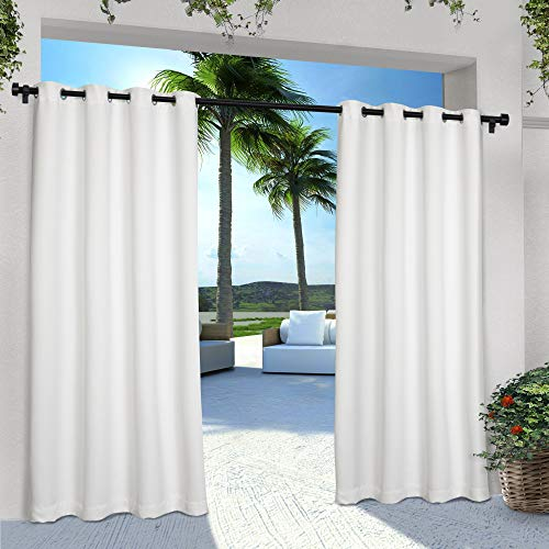 Exclusive Home Curtains Indoor/Outdoor Solid Cabana Grommet Top Curtain Panel Pair, 54x120, Winter White
