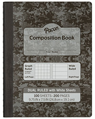 """Pacon  Dual Ruled Composition Book, Dark Gray, 1/4"""" Grid & 3/8"""" Wide Ruled 9-3 ?4"""" x 7-1?2"""", 100 Sheets"""