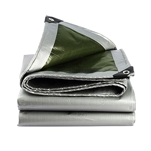 CHUDAN+ dekzeil regenjas waterdicht zonnezeil dekzeil driewieler luifel dekzeil, donkergroen + zilver grijs, dikte 0.35mm, 180g / M2, 12 maten opties