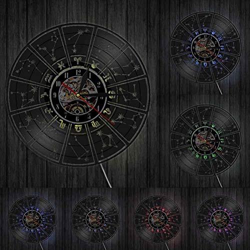 ttymei Vinyl Home Decoration Wanduhr Sternzeichen Vinyl Rekord Wanduhr Astrologische Dekoration Wanduhr Uhr Sternzeichen Geschenk