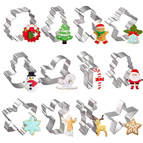 Moldes para Galletas Navidad, joyoldelf 12 Pcs molde galletas Navidad Cortadores de Galletas Moldes - Hombre de Jengibre, Árbol de Navidad, Reno, Santa, Copo de Nieve, Muñeco de Nieve, Reno y otras