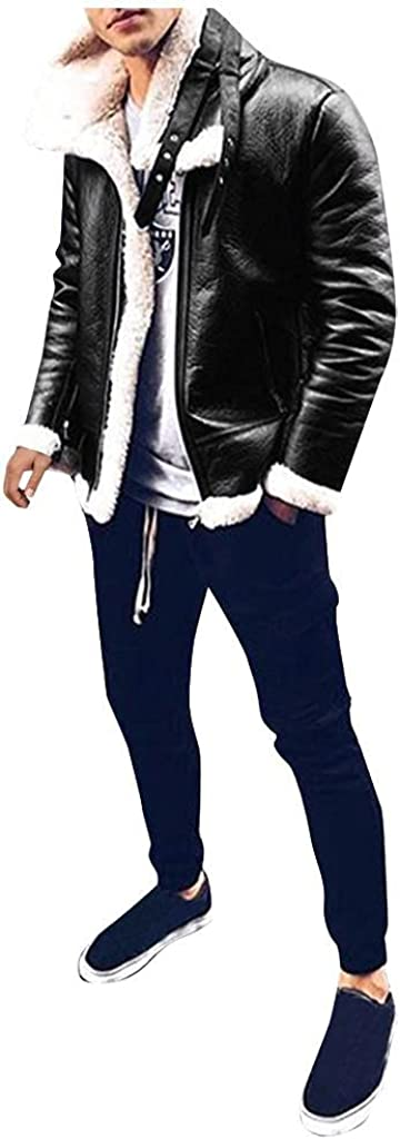 LEIYAN Mens Leather Jacket Casual Zip Up Stand Collar Sherpa Motorcycle Jacket Winter Thicken Thermal Coat