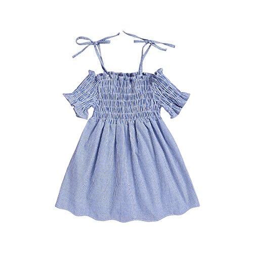 Baywell Baby Mädchen Backless Sling Kleid Sommer ärmellose Streifen Kleider (S/2-3Jahre/100)