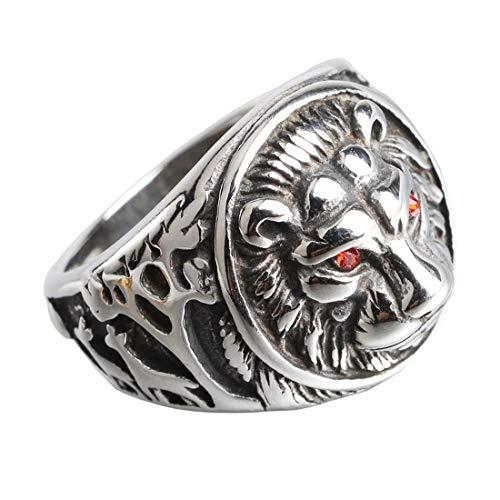 HIJONES Herren 316l Edelstahl Gothic Rote Augen Biker Löwe Siegelring Silber Schwarz Größe 60