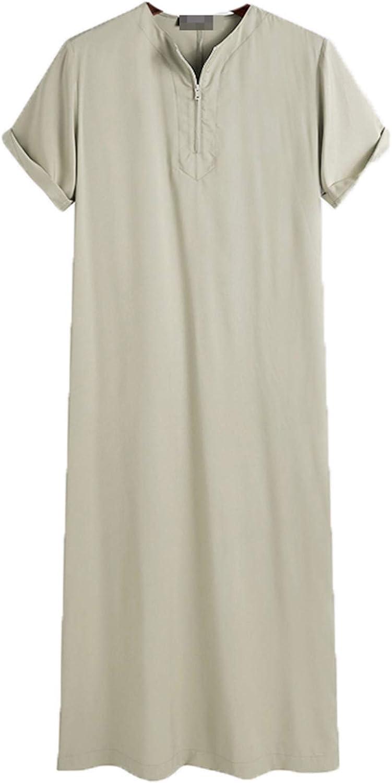 WLOPE Men Muslim Islamic Kaftan Short Sleeve Jubba Thobe O Neck Robes Middle East Saudi Arabia Abaya