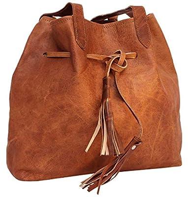 Gusti Sac besace en cuir - Sac à bandoulière en cuir Phoebe Sac cabas Sac à main en cuir brun