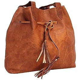 Gusti Sac Cabas Cuir – Phoebe Sac à Main cuir véritable sac cabas vintage femmes sac grand format marron sac à main…