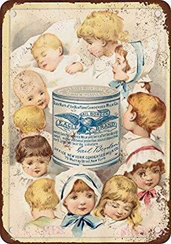 RTOUTS 1887 Borden - Placa de metal de leche condensada retro de metal antiguo para decoración de pared de 20 x 30 cm