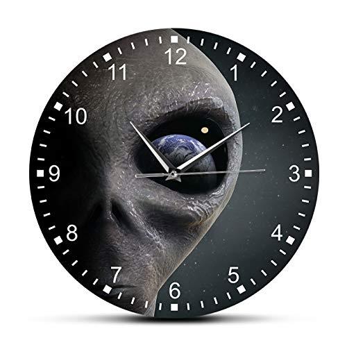 yage Reloj de Pared alienígena del Planeta del Espacio Exterior Extraterrestre Mirando a la Tierra Reloj de Pared Moderno Reloj Colgante platillo Hombre Gag Regalo