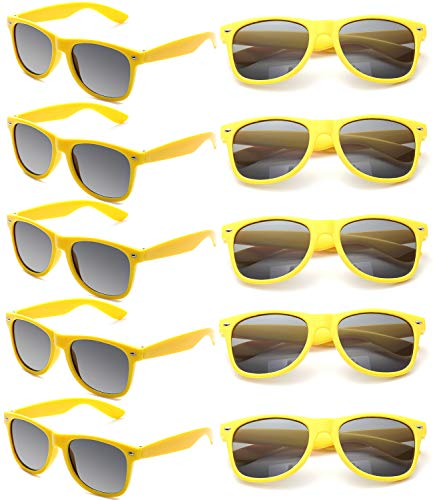 Neon Sunglasses Bulk for Adults Party Favors Retro Classic Party Glasses Shades 10 PACK (Yellow)