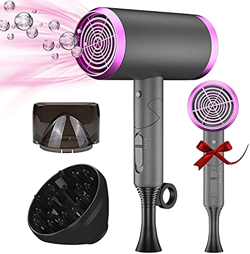 Ionic Hair Dryer Foldable, 1800W Professional Blow Hair Dryer Negative Ion...