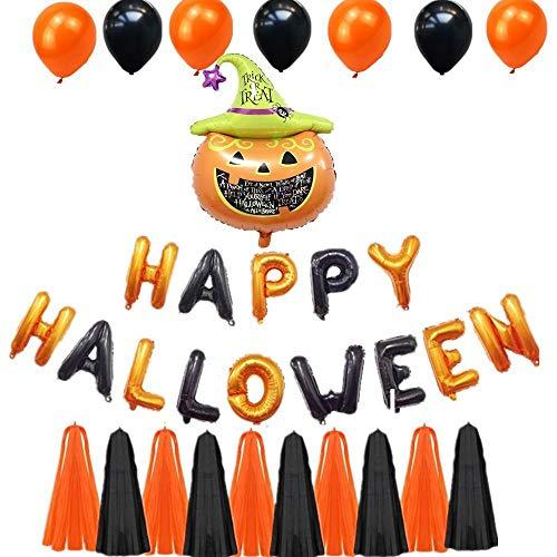 XJZKA Halloween Party Aluminum foil Balloon Set, Halloween Pumpkin Aluminum foil Balloon Latex Balloon Combination, Happy Halloween Letter Banner (2 Sets)