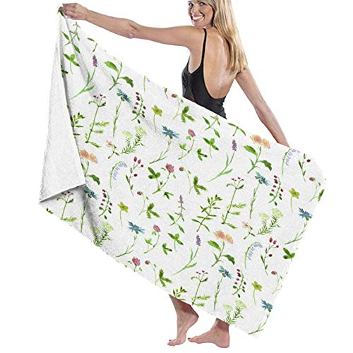 KAYLRR Toallas de baño,Spring Season Themed Watercolors Painting of Herbs Flowers Botanical Garden,Super Soft,High Absorbent,Large Towel Blanket for Bathroom,Beach or Swimming Pool,52' x 32'