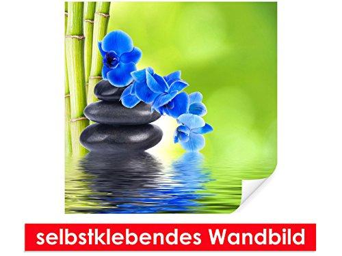 Image murale auto-adhésif Blue Orchid on Stones – Facile à coller – Wall Print, Wall Paper, Poster, film vinyle avec point décoratif pour murs, portes, meubles et toutes les surfaces lisses de Trend murs, bleu, 80 x 80 cm