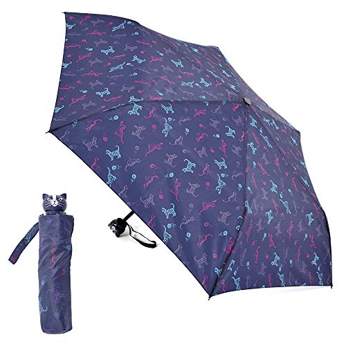 Cats Print Umbrella with Pouch and Cute Cat Head Handle, Manual 6-panel Women/Unisex Umbrella