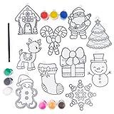 20 Piezas Kit Atrapasol de Navidad  10 Atrapasol para Pintar y Decorar, 9 Pinturas, 1 Pincel  Manualidades, Actividad Creativa, Decoración Ventana, Relleno Calcetines Navidad, Regalos para Niños.