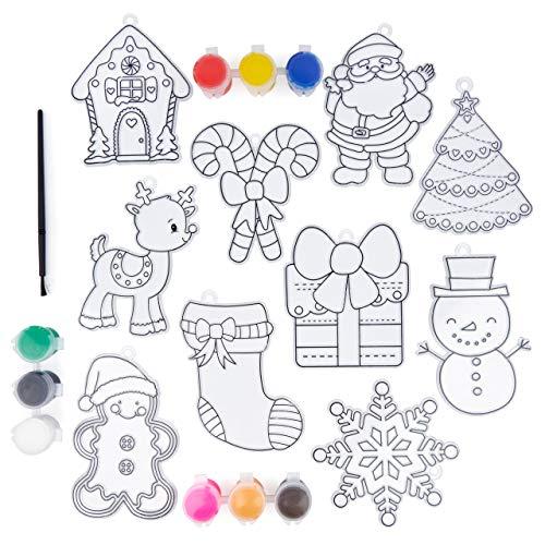 20 Stück Weihnachten Sonnenfänger Kit| 10 Suncatchers zum Malen & Dekorieren, 9 Farben, 1 Pinsel| DIY Basteln, Kreative Aktivität, Fensterdekoration, Weihnachtsstrumpffüller, Geschenke für Kinder.