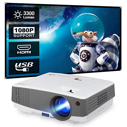 WIKISH Outdoor Movie Gaming Projector Portable Video Cinema Home Theater Full HD 1080P Support for Smartphone Dvd Player Tv Stick Laptop Ps5 Wii