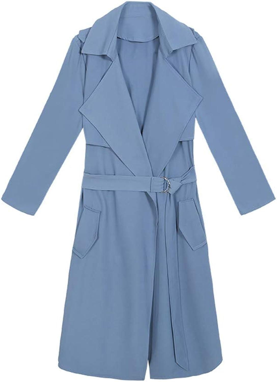 LHHJ Coat Polyester Long Sleeve Long Ladies bluee Jacket