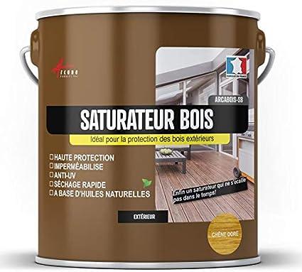 Arcane Industries - Saturador de madera para terraza, revestimiento exterior: madera de caoba (tinte rojo), 2,5 l (hasta 12,5 m2)