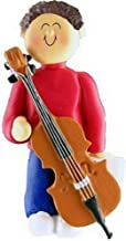 Cello Player Personalized Music Christmas Ornament Personalized Free (Male Brown Hair)