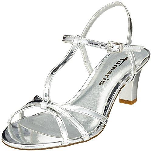 Tamaris Damen 28329 T-Spangen Sandalen, Silber (Silver), 38 EU