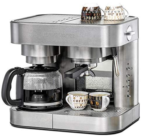 ROMMELSBACHER Kaffee/Espresso Center EKS 3010 - Filterkaffeemaschine, Glaskanne, Siebträger, Filtereinsatz für 1 bzw. 2 Tassen, Düse für Milchschaum/Heißwasser, programmierbare Tassenfüllmenge