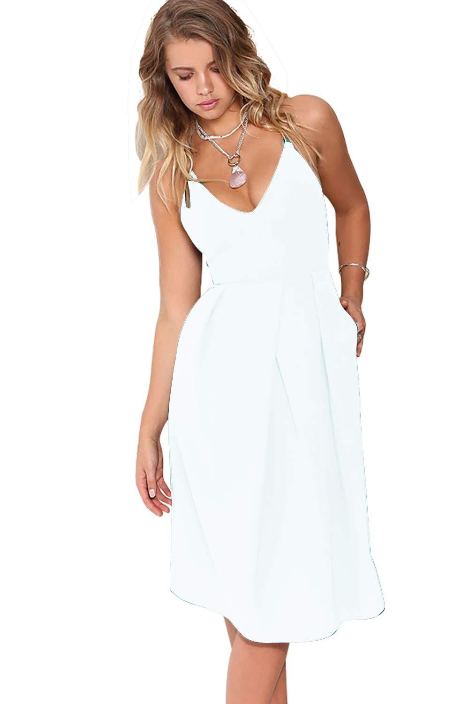 White Dress - Women's Classic Retro V Neck Half Sleeve Sheath Formal Juniors Dress